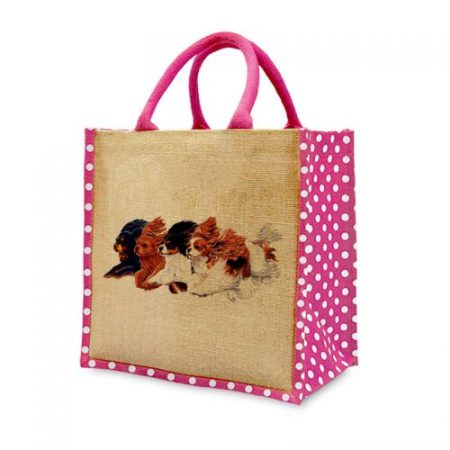 Polka Dot Flying Cavaliers Jute Bag