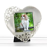 Silver Heart Lace Frame