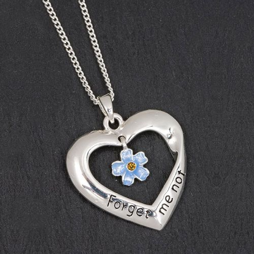 Forget-me-not Flower & Heart Necklace