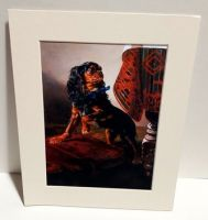 Posing Black and Tan Mounted Print