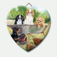 Flower Pot Pups Ceramic Heart Keepsake