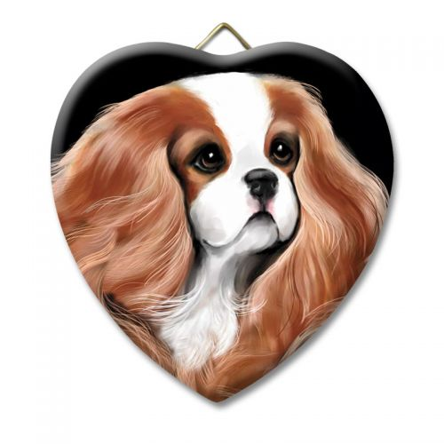 Bohemian Cavalier Ceramic Heart Keepsake