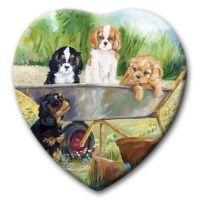 Flower Pot Pups Ceramic Heart Keepsake