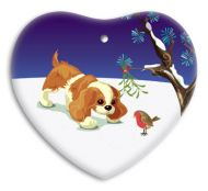 Ceramic Heart Christmas Decoration