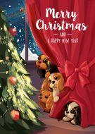 Peeking Cavaliers Christmas Card 5-Pack