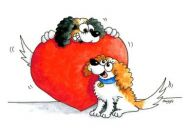 Cavalier Valentine Card Cartoon Heart