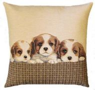 Cavalier Pups Tapestry Cushion