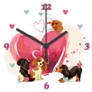 Cavalier Ticking Sweethearts Clock