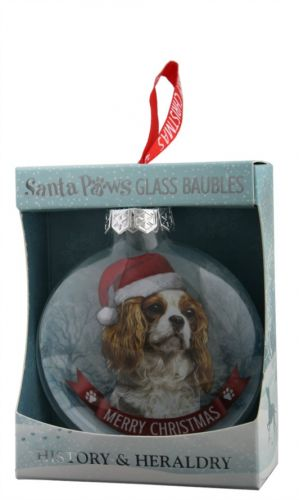 Santa Paws Glass Bauble