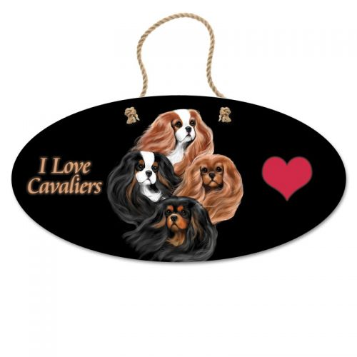 Bohemian Cavaliers Oval Hanging Sign