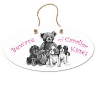 Cavalier Kisses Oval Hanging Sign