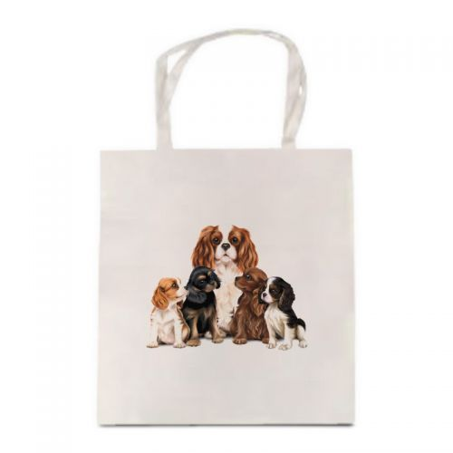 Satin Cream Mum & Pups Cavalier Tote Bag