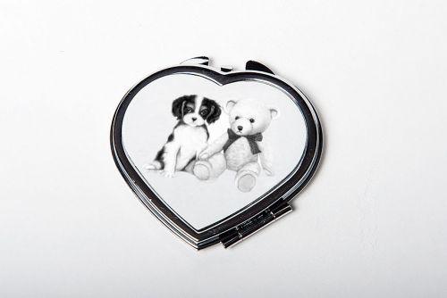 Tricolour Teddy heart mirror compact