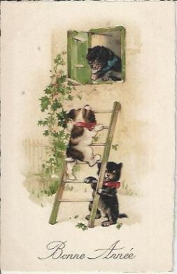 Bonne Annee (Happy New Year) 1922 Vintage Postcard