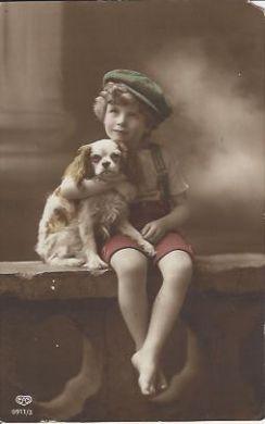 Boy With Spaniel Vintage Postcard
